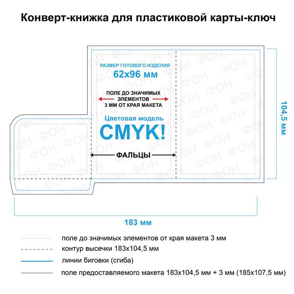 Макет конверта для пластиковой карты  62х96 мм.